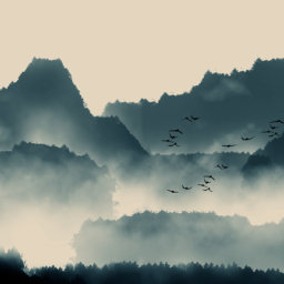 Watercolor mountain landscape with birds